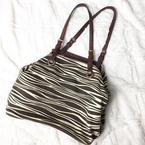 Michael Kors Striped Animal Print Canvas Hobo Bag
